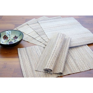 Set of 4 Handwoven Natural Banana Fiber Placemats (India)