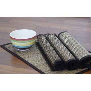 Set of 4 Handwoven Natural Cotton Placemats (India)