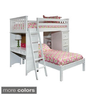 Classic Twin Loft/ Platform Bed Set with Built-in Chest/ Desk/ Bookshelf