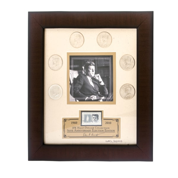 Franklin Mint JFK Half-dollar Coins with Framed Lithograph