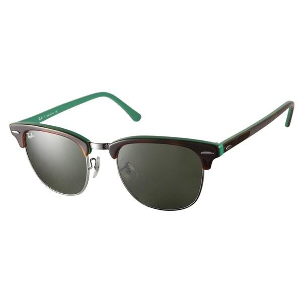 Ray-Ban RB3016 1127 Clubmaster Havana on Green Sunglasses