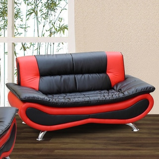Christina Red/ Black Two-tone Bonded Leather Loveseat