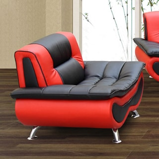 Christina Red/ Black Two-tone Bonded Leather Chair