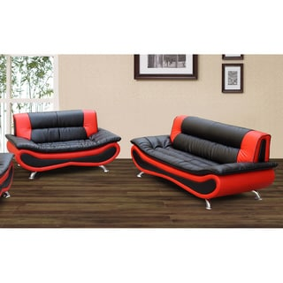 Christina Red/ Black Two-tone 2-piece Modern Bonded Leather Sofa and Loveseat Set