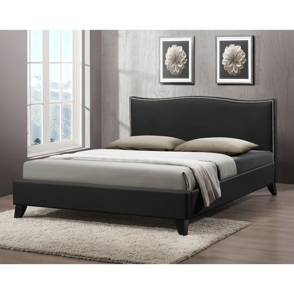 Battersby Black Modern Bed with Upholstered Headboard