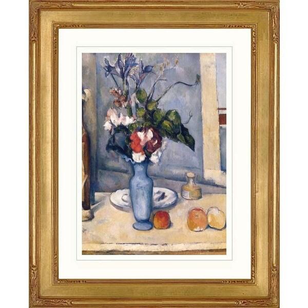 Paul Cesanne 'Le Vase Bleu' Giclee Framed Art