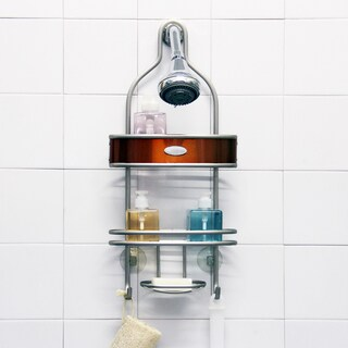 Samsonite Satin Nickel/ Salmon Shower Caddy