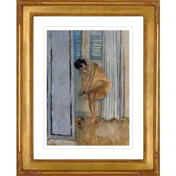 """Henri Lebasque """"Femme otant ses bas"""" Giclee Framed"""