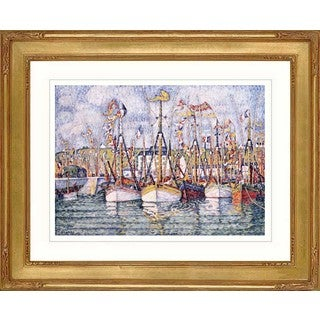 Paul Signac 'Blessing of the tuna boats Groix' Giclee Framed Art