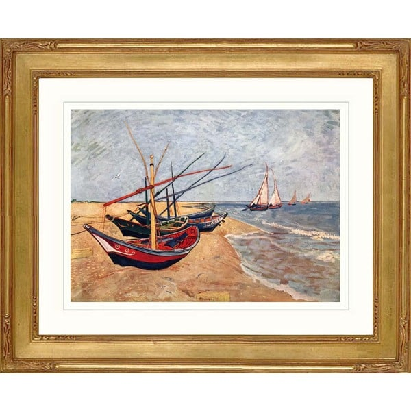 "Vincent Van Gogh ""Fishing boats on the beach"" Framed Giclee Art Print"