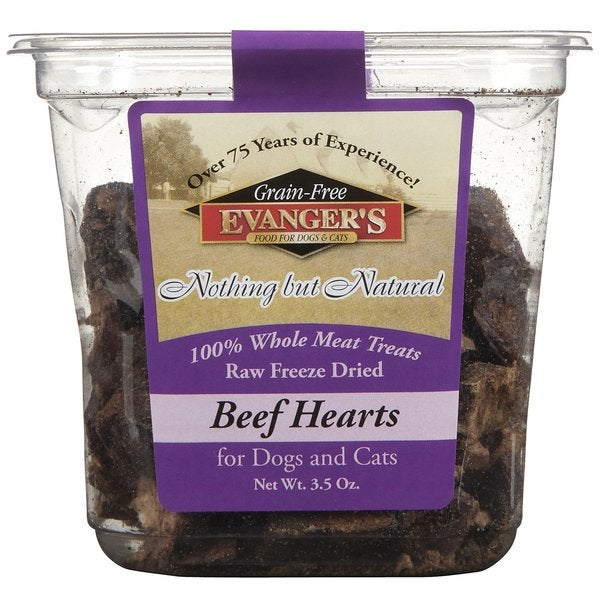 Evanger's Raw Freeze-Dried Beef Hearts 100-percent Whole Meet Treats for Dogs and Cats (Pack of 2)