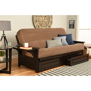 Espresso Multi-flex Futon Frame with Innerspring Mattress and Optional Drawer Set