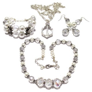 Clear Crystal and White Faux Pearl Wedding Jewelry Set