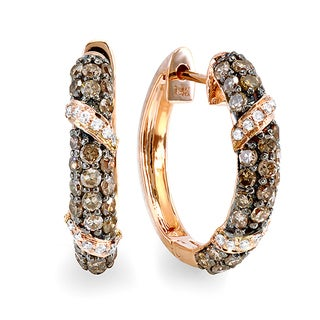 14K Rose Gold 1ct TDW Champagne and White Round Diamond Hoop Earrings