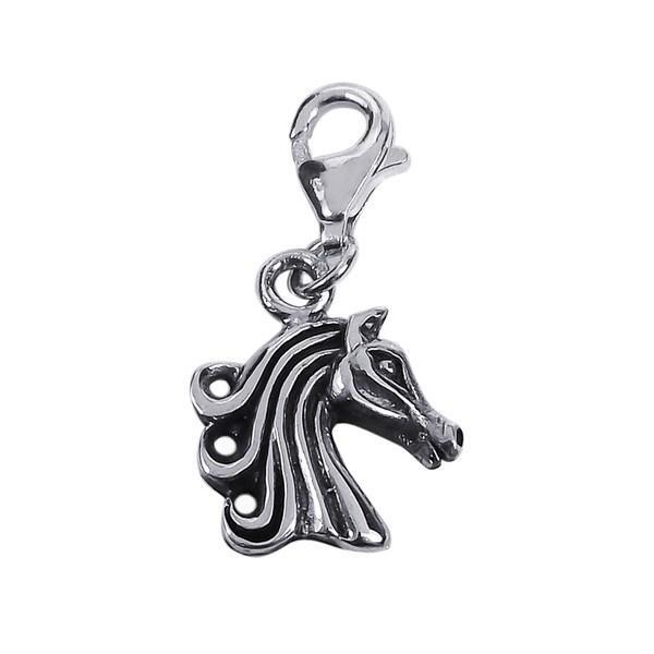 Mini Wild Horse Head .925 Silver Charm or Pendant (Thailand)