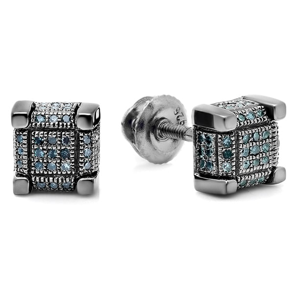 Sterling Silver 1/5ct TDW Blue Diamond Dice Shape Stud Earrings