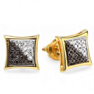 18K Yellow Gold Plated 1/10ct TDW White and Black Diamond Micro Pave Stud Earrings (I-J, I2-I3)
