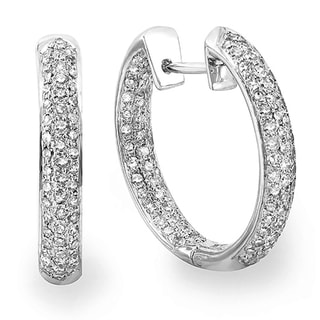 14k White Gold 2ct TDW Pave Diamond Hoop Earrings (H-I, I1-I2)