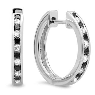 14K White Gold 1/3ct TDW Black and White Diamond Hoop Earrings (H-I, I2-I3)