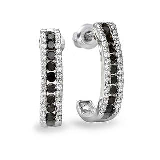 Sterling Silver 1/2ct TDW Black and White Round Diamond Hoop Earrings (I-J, I2-I3)