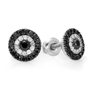 Sterling Silver 1ct TDW Black and White Diamond Circle Stud Earrings (I-J, I2-I3)