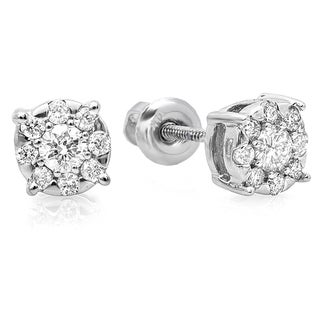 14K White Gold 1/3ct Round Cut White Diamond Stud Earrings (H-I, I1-I2)