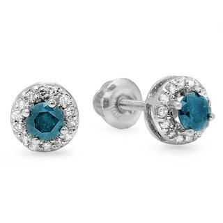 14K White Gold 1/2ct TDW Blue Diamond Halo Stud Earrings (I-J, I2-I3)