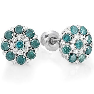 14K White Gold 1 1/4ct TDW Blue and White Diamond Stud Earrings (H-I, I1-I2)