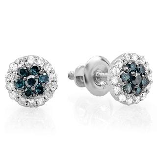 10k Gold 1/3ct TDW Blue and White Diamond Stud Earrings (I-J, I2-I3)