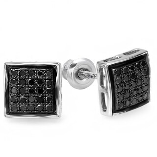 Sterling Silver 1/4ct TDW Black Diamond Micro Pave Stud Earrings