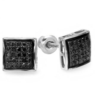 Sterling Silver 1/4ct TDW Black Diamond Micro Pave Stud Earrings