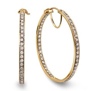 14k Yellow Gold 2ct TDW Round White Diamond Hoop Earrings (H-I, I1-I2)