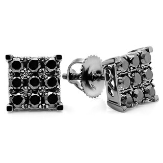 10k White Gold Square 1ct TDW Black Diamond Stud Earrings
