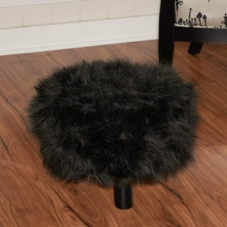Linon Black Faux Flokati Foot Stool