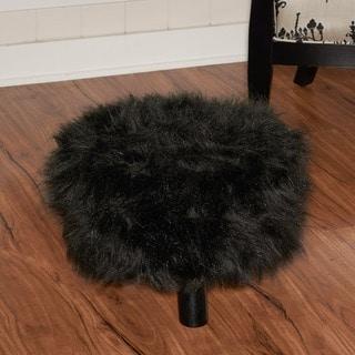 Oh! Home Handmade Black Shag Wool Ottoman