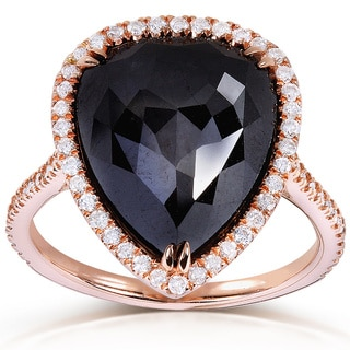 Annello 14k Rose Gold 7 3/4ct TDW Pear Cut Black and White Diamond Halo Ring (G-H, I1-I2)