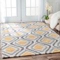 nuLOOM Handmade Trellis Modern Ikat Wool Area Rug (7'6 x 9'6)