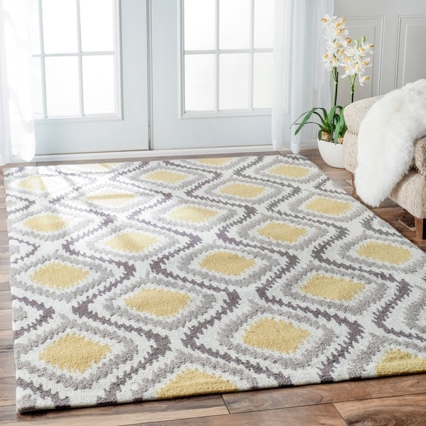 Nuloom handmade trellis modern ikat wool area rug 7 39 6 x 9 for 10x10 living room rugs