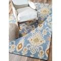 nuLOOM Handmade Ikat Blue Wool Rug (3' x 5')