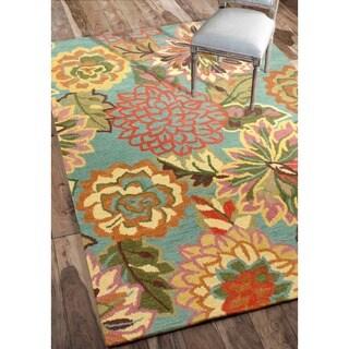 nuLOOM Handmade Bold Floral Blue Wool Rug (3' x 5')
