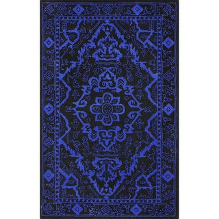 nuLOOM Handmade Traditional Overdyed Blue Wool Rug (5' x 8')