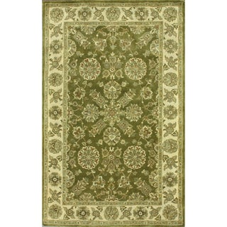 nuLOOM Handmade Traditional Persian Olive Green Wool Rug (5' x 8')