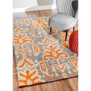 nuLOOM Handmade Modern Ikat Grey Wool Rug (8'6 x 11'6)