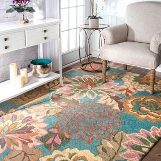 nuLOOM Handmade Bold Floral Blue Wool Rug (8'6 x 11'6)