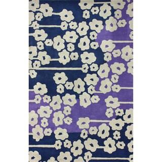 nuLOOM Handmade Modern Poppy Blue Rug (7'6 x 9'6)