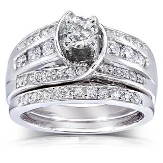 Annello 14k Gold 1ct TDW Round Diamond 2-piece Bridal Set (H-I, I1-I2)