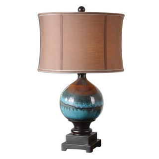 Uttermost Padula 1-light Glossy Blue Ceramic Table Lamp