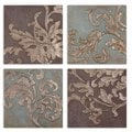 Damask Relief Blocks, Set of 4