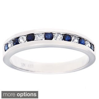 Viducci 10k White Gold Genuine Gemstone and White Sapphire Band