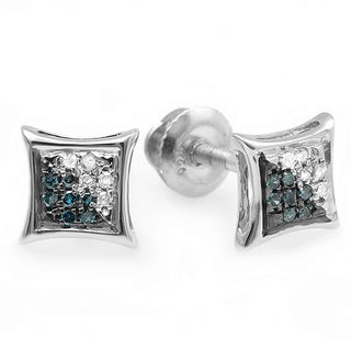 Sterling Silver 1/3ct Blue and White Diamond Micro Pave Stud Earrings (I-J, I1-I2)